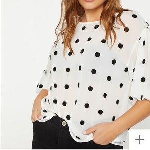 NWT polka dot textured blouse